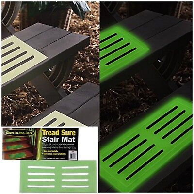 GLOW IN THE DARK STAIR MAT High Visibility Step Tread Safety Mats 39 x 18 cm ()