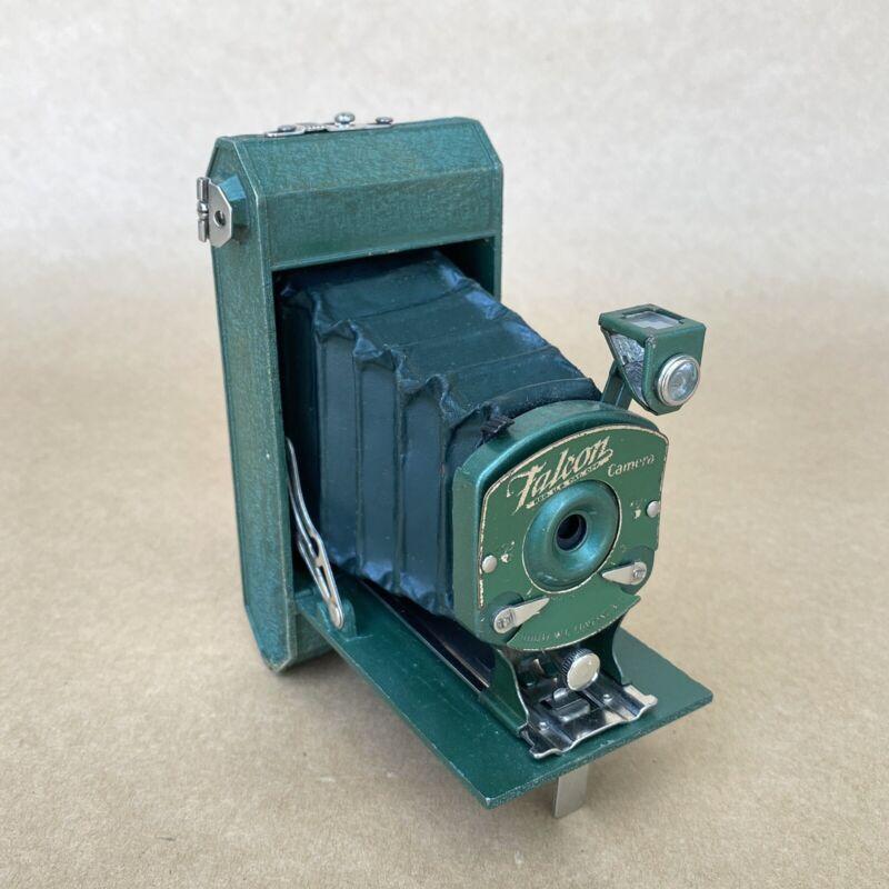 Falcon Antique Pocket Green Folding Roll Film Camera W/ Green Bellows, NICE!