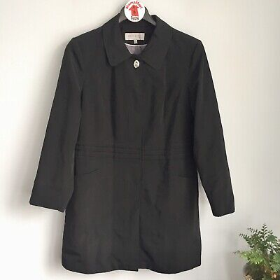 Anne Klein Black Trench Coat Jacket Size XL Snap Button Down Raincoat Soft Shell