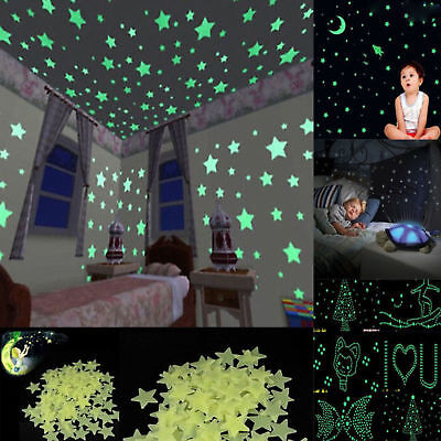 100pcs Pack Glow In The Dark 3D Stars Moon Stickers Bedroom Wall Room Decor DIY