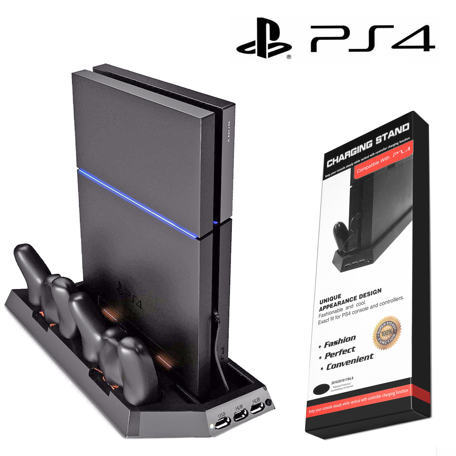 PS4 Cooling Station Vertical Stand with 2 Controller Charging Dock PlayStation 4 Chargers & Charging Docks