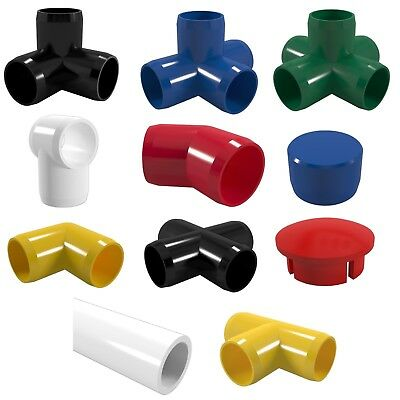 (PVC Coloured Pipe & Fittings. Furniture Grade: Blue Red Black Green Yellow White)