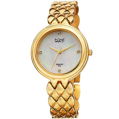 Women's Burgi BUR193SS Diamond Mother of Pearl Gold Tone Stainless Steel Watch