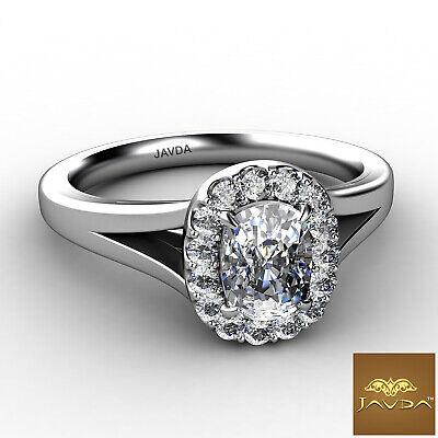Halo Split Shank French U Pave Cushion Diamond Engagement Ring GIA G VS1 0.7 Ct 1