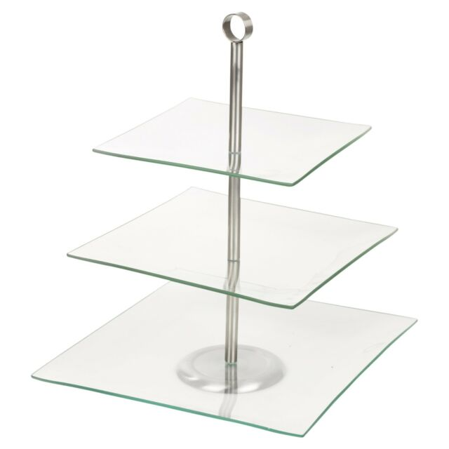 Tier Glass Food Cake Display Stand Serving Table Platter Rack