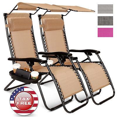 2 Pcs Zero Gravity Folding Lounge Beach Chairs W Canopy Magazine Cup Holder