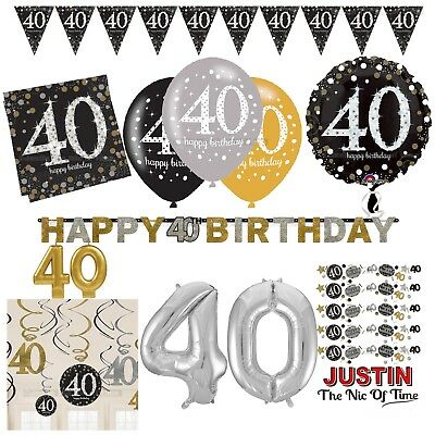 40th Gold Celebration Birthday Party Supplies Balloons Tableware & Decorations (40th Birthday Party Supplies)