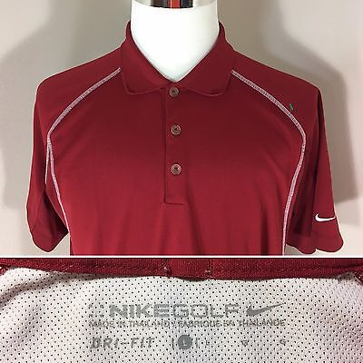 NIKE DRI-FIT Men's Golf Polo Shirt Size L Large Crimson EUC