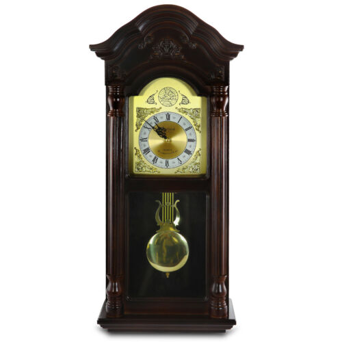 "BEDFORD 25.5"" MAHOGANY CHERRY OAK CHIMING GRANDFATHER WALL CLOCK w PENDULUM"