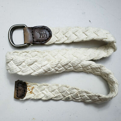 ABERCROMBIE UNISEX WHITE BONE WOVEN BRAIDED FABRIC LEATHER BELT ONE SIZE B12-37