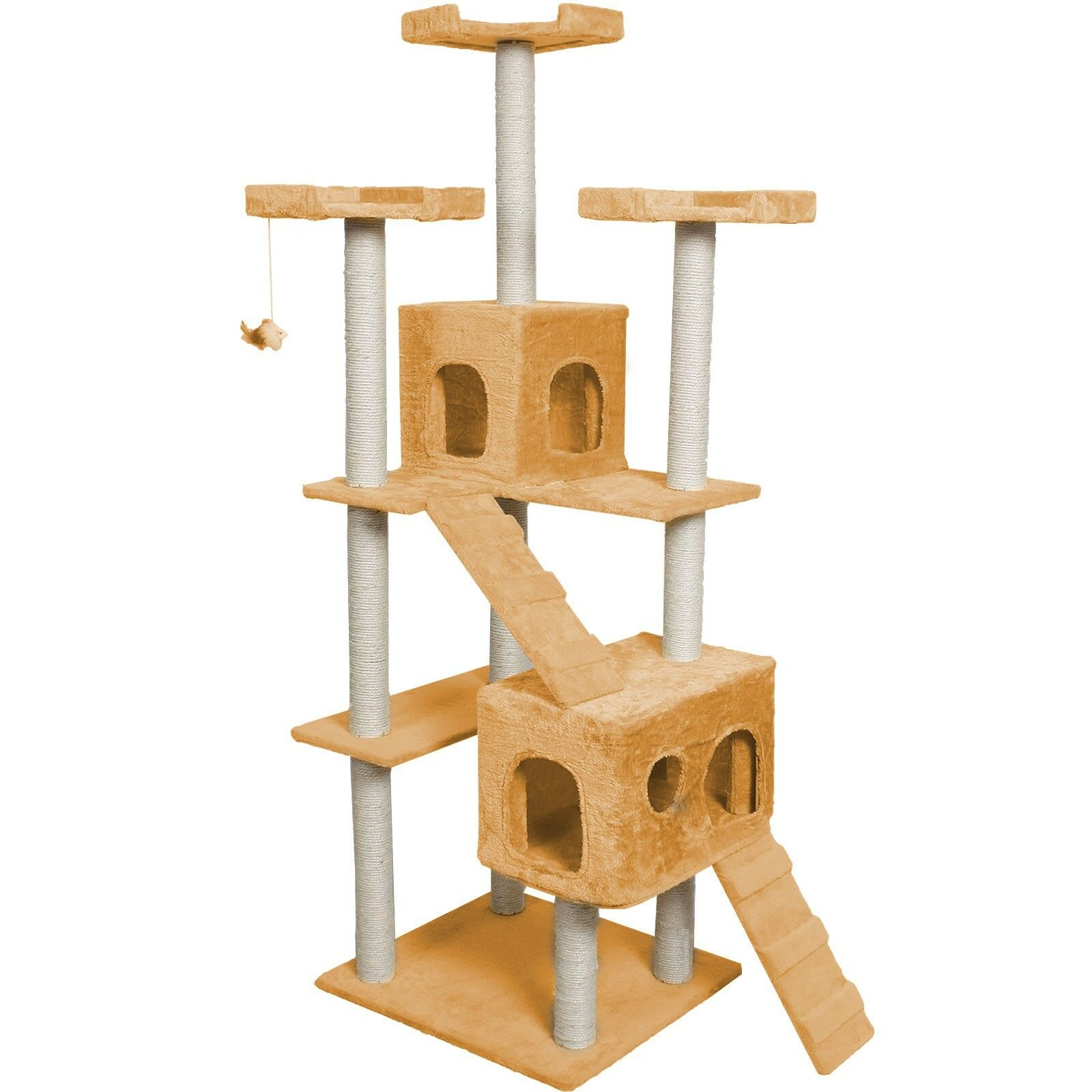 """73"""" Cat Tree Condo Furniture Scratch Post Pet House Beige/Gray Paws/Apricot"""