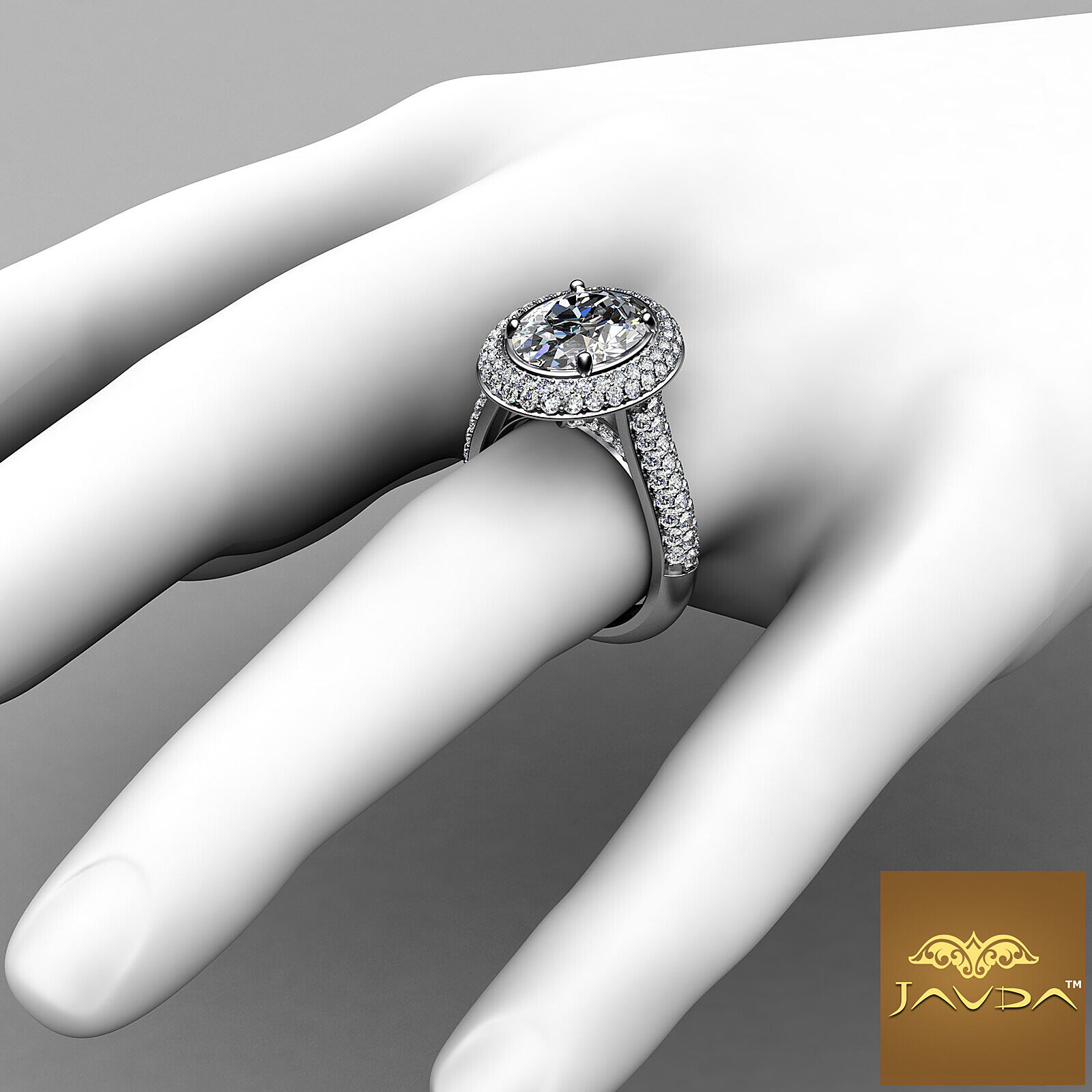 3 Row Shank Double Halo Oval Diamond Engagement Prong Setting Ring GIA F VS1 3Ct 3