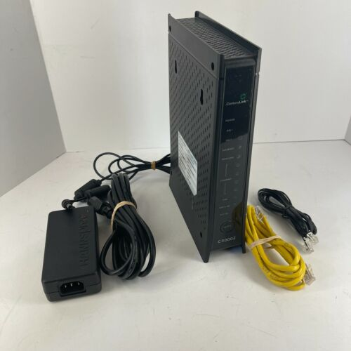 CenturyLink ZyXEL C3000Z DSL Wireless WiFi Modem Router w/ Cords & Cables Tested
