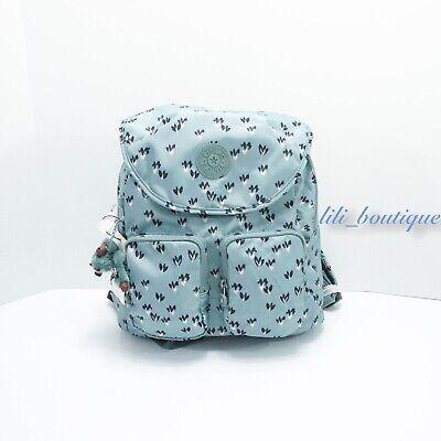 NWT Kipling KI0367 Fiona Travel Backpack Polyamide Fan Florals Blue Purple Multi