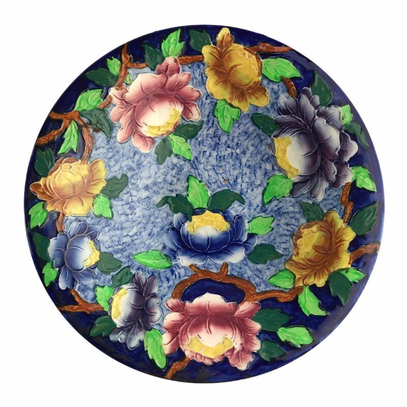 "Vintage Art Deco Mailing Ware Pottery England Cobalt Peonies Bowl Floral 10"""