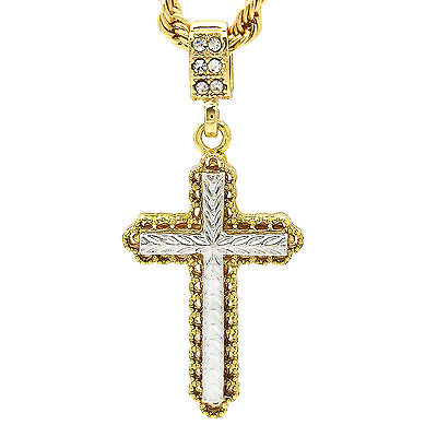 HipHop Fashion 14k Gold Plated Zagged 2Tone Cross Pendant 24