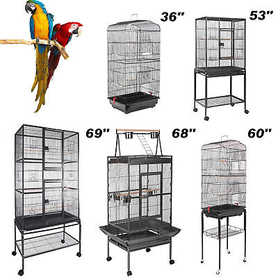 - Multi-Size Large Bird Cage Play Top Parrot Finch Cage Macaw Cockatoo Pet House