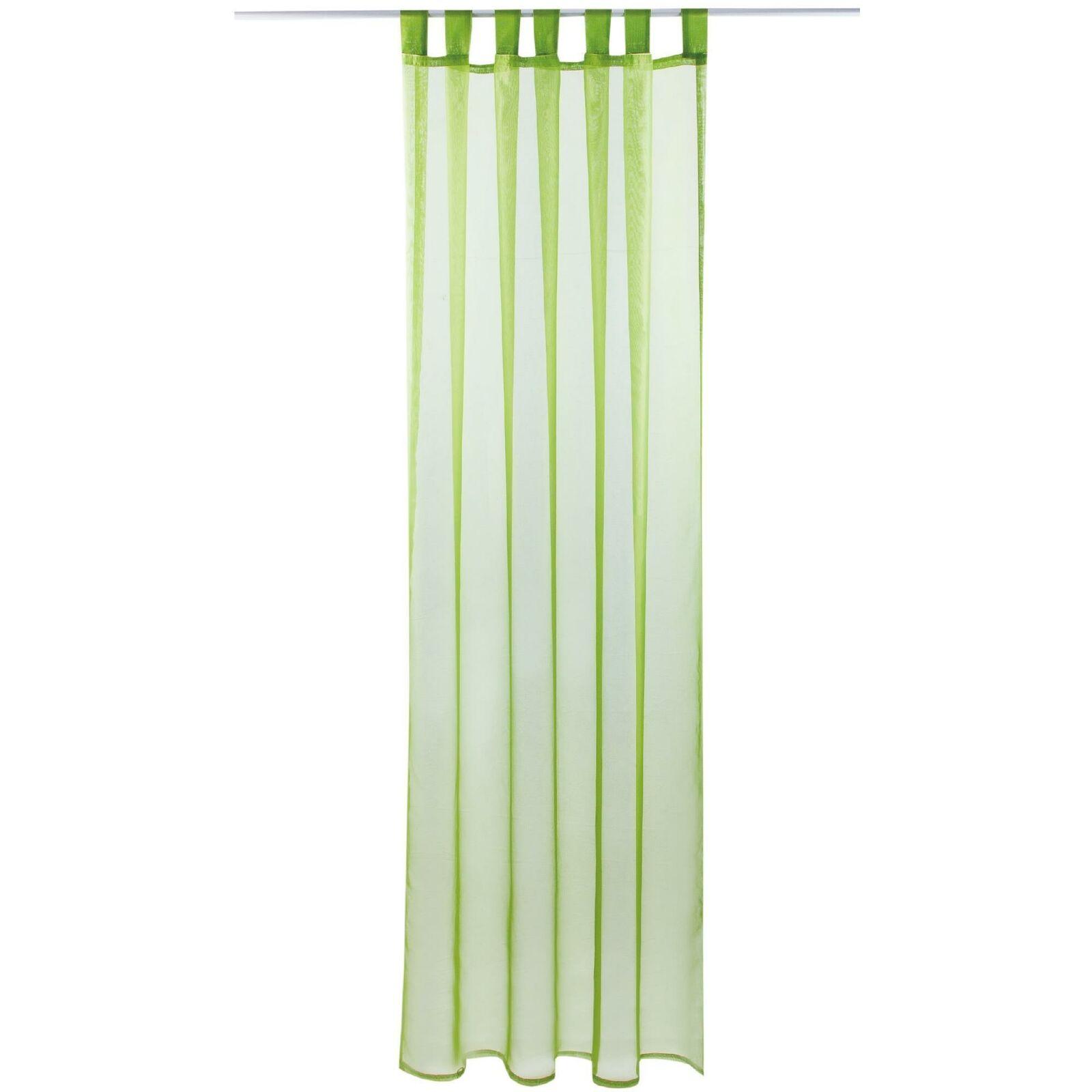 Schlaufenschal Vorhang mit Schlaufen Transparent Voile Uni Gardine große Auswahl grün - olivgrün