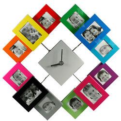 Multi 12 Pic Modern Family Photo Frame Wall Clock G26
