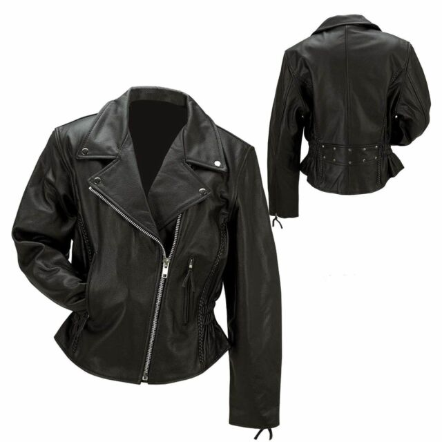 Ladies Black Leather Jacket Biker Motorcycle Harley Rider Chopper ...