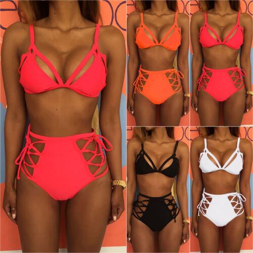 Damen High Waist Bikini Set Push Up Strand Bademode Badeanzug Schewimmanzug