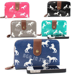 Ladies-Designer-Oilcloth-Horses-Print-Purse-and-Wallet-Women-Girls-Coin-Purses