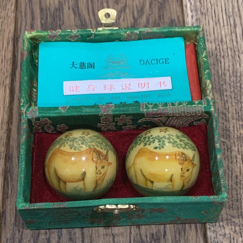 Vintage Dacige Ox Oxen Musical Baoding Medicine Balls w/ Green Silk Covered Box