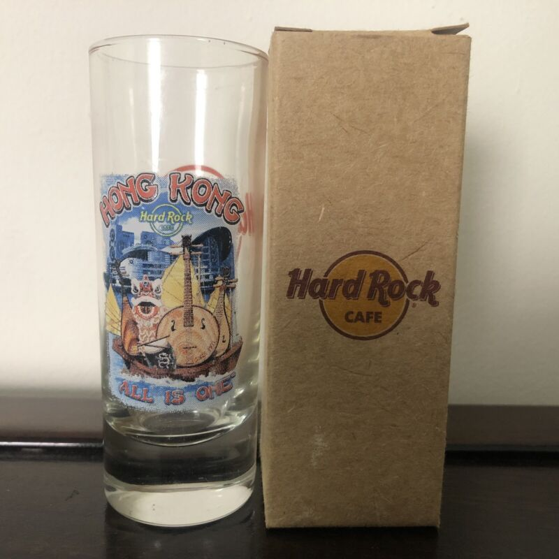 "New Genuine Hong Kong Hard Rock Cafe HRC Souvenir Shot Glass 4"" Tall All Is One"