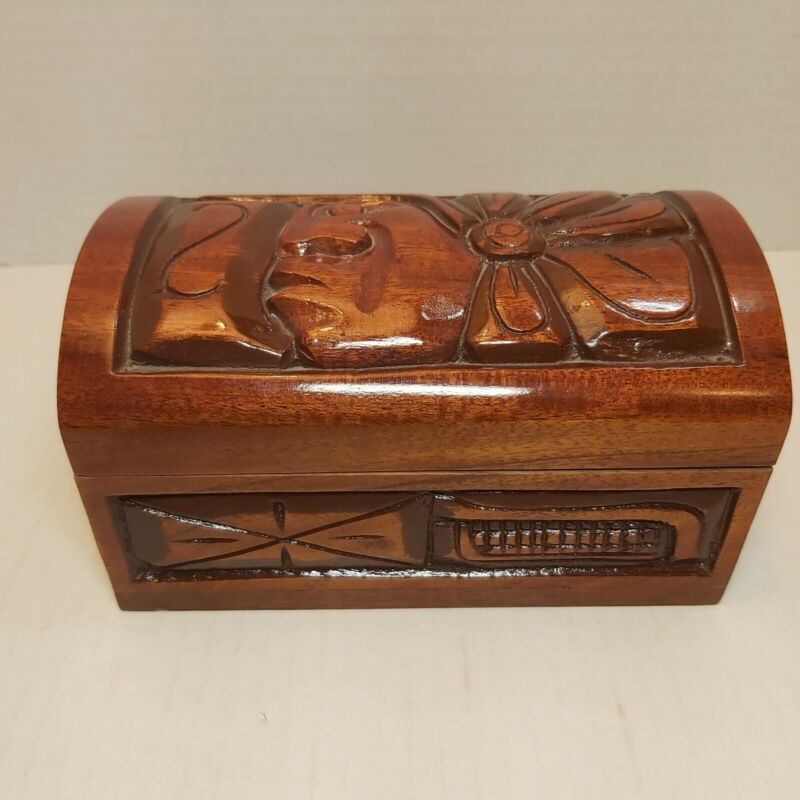 Mexican Hand Carved Wooden Hinged Keepsake Trinket Box Mexican Aztec Symbols