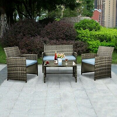 Patio Furniture 4 Pcs Outdoor Wicker Sofas Rattan Chair Wicker Conversation Set