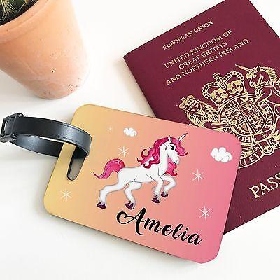 Personalised Kids Unicorn Scene Girls Custom Travel Suitcase Bag Luggage Tag Kids Personalized Luggage