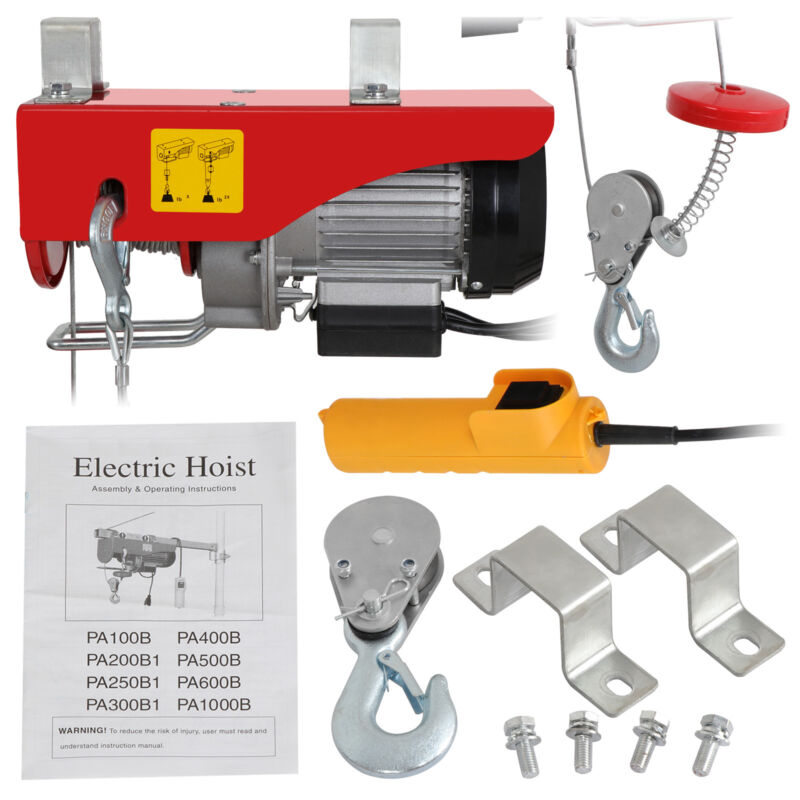 Electric Hoist Winch Lifting Engine Crane Garage Hanging Cable Lift Hook 200LB