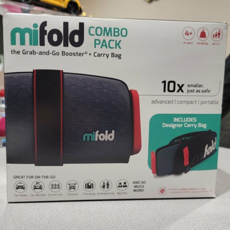 mifold Combo Pack Grab-and-Go Booster + Carry Bag for Kids 40-100lbs, Compact