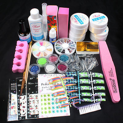 Acrylic UV Gel Glitter Powder Glue Tips Brush Nail Sticker Nail Art Kit Set for sale  Shipping to Canada