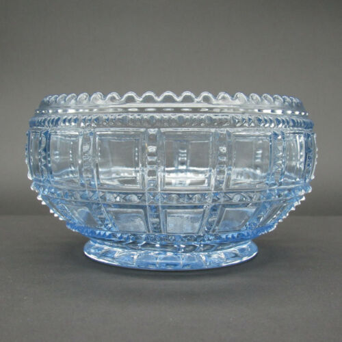 Imperial Glass Lily Bowl, Beaded Block Light Ice Blue, Ohio Depression Glass