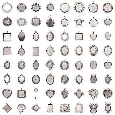 Cabochon Setting - Tibetan Alloy Pendant Cabochon Setting Bezels Cameo Charm Blanks Antique Silver
