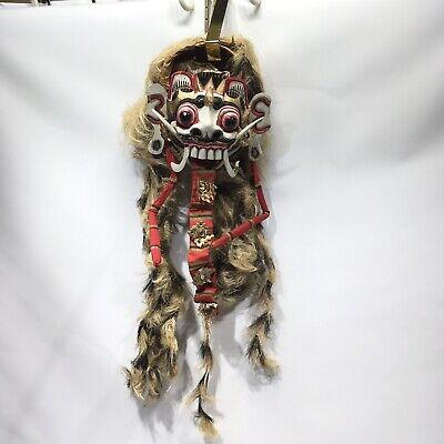 Vintage Balinese Mask Rangda Barong Indonesia Dance Long Hair Tongue