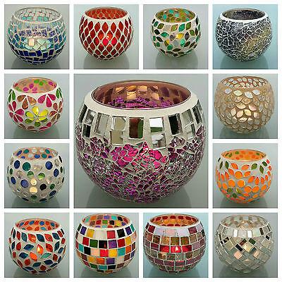 Teelichtglas Mosaik Teelicht Windlicht Kerzen Halter Mosaikglas Kugel bunt
