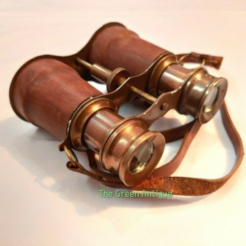 Antique Brass Binocular Vintage Brown Leather Grip Maritime Collectible