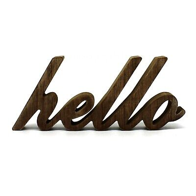 Wooden Hello Sign (Rustic Vintage Wooden Words Sign