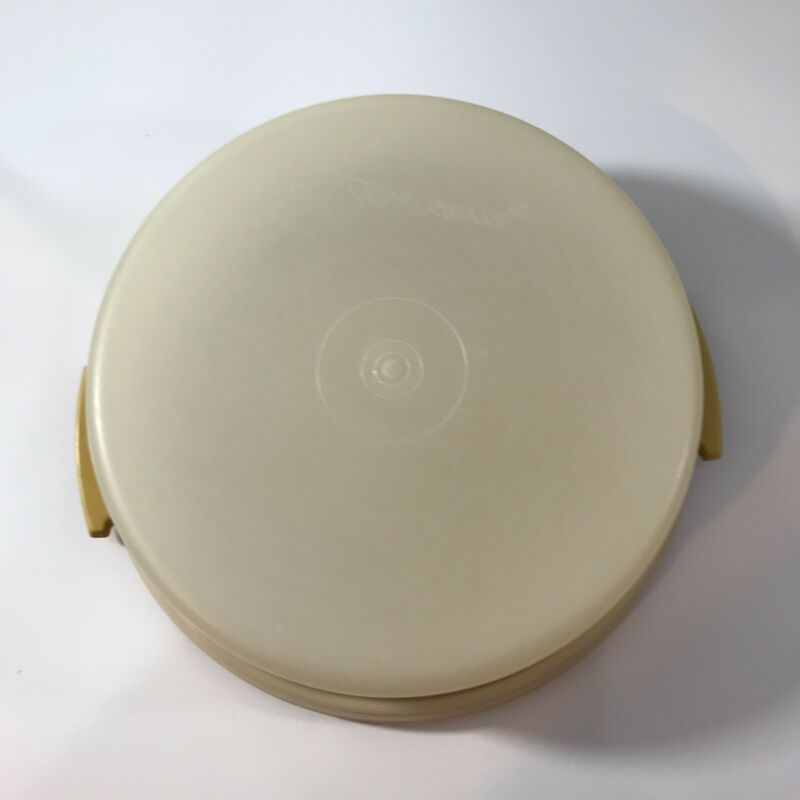 """Vintage 10"""" Pie Cake Holder Carrier Gold -No Handle- Retro Kitchen Decoration"""