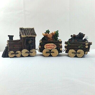 Holiday Christmas Train Figurine Set Bear Rustic Winter Home Decor 3 Piece