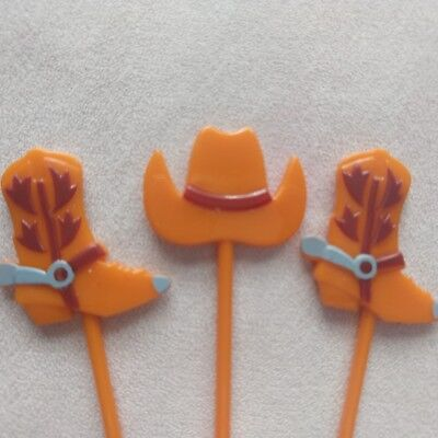 12 Pc Cupcake Topper Cake Picks Western Theme Birthday Party Cowboy Hats & - Cowboy Cake