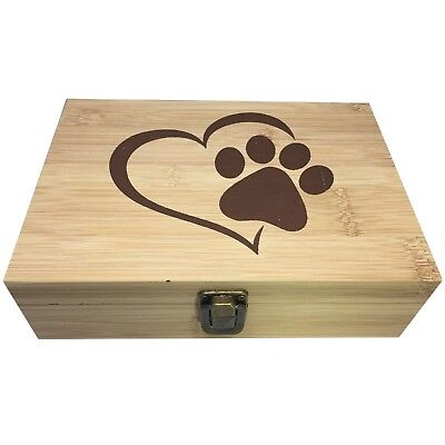 Paw Print Decorative Bamboo Wood Storage Jewelry Stash Box -Great Gift