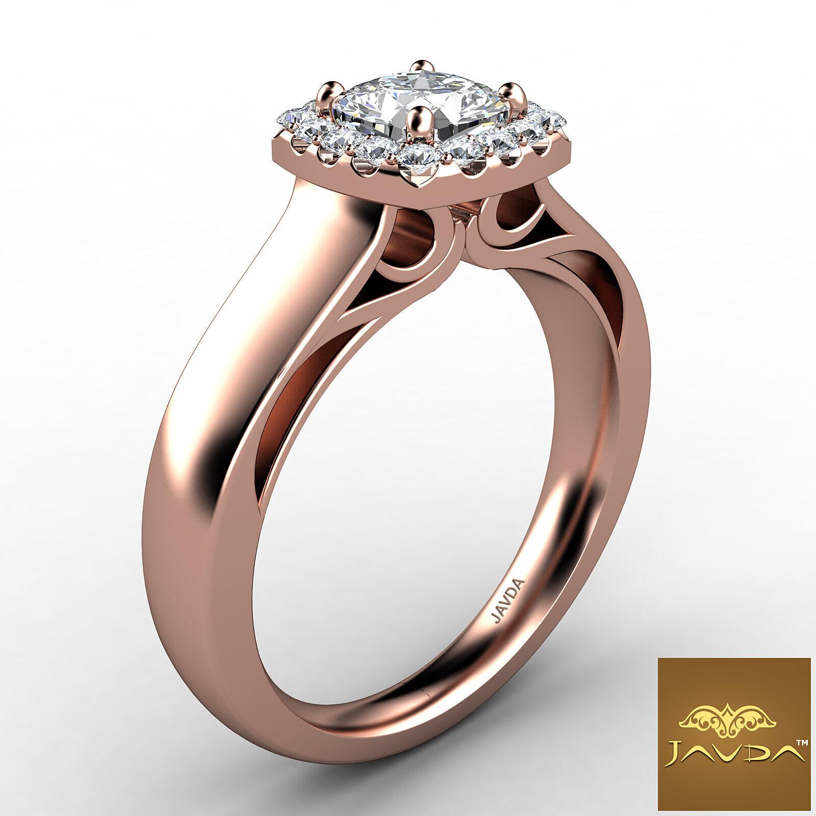 Filigree Shank U Cut Prong Cushion Diamond Engagement GIA H Color VS1 Ring 0.7Ct 10