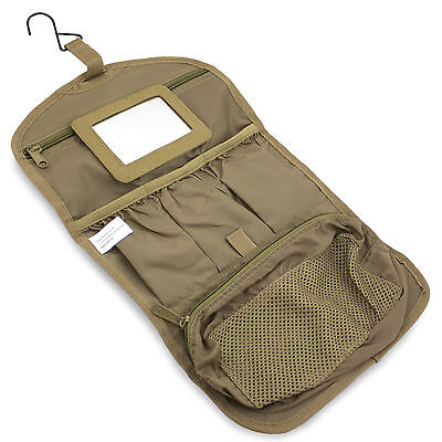Mens Military Hanging Folding Wash Toiletry Toiletries Bag Kit Pouch Hook Coyote