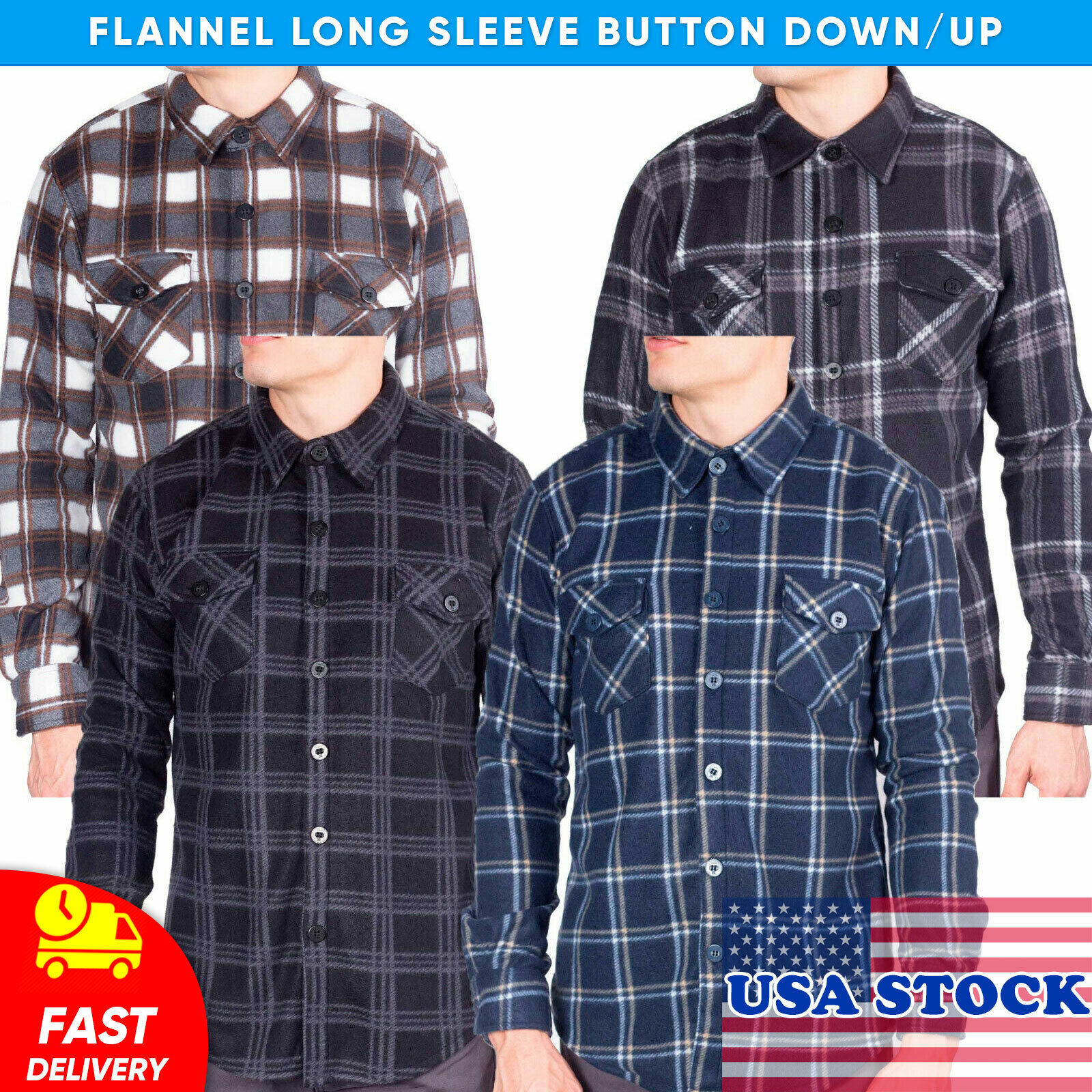 Visive Mens Flannel Shirt Long Sleeve Button Down Up Heavy F