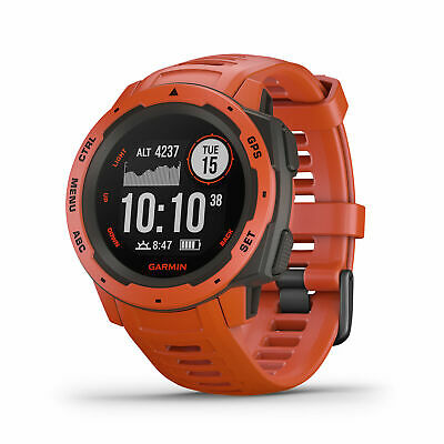 Garmin Instinct Rugged GPS Smart Tracking Fitness Watch - Flame Red 010-02064-02
