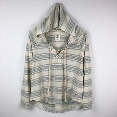 Billabong Pullover Sweater Hooded Size S Small Terry Cloth Lace-up White Stripe Hooded Terry Sweater