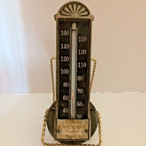 """ANTIQUE CAST METAL 1920-30 Johnson Service Company WI. Duct Thermometer 7 5/8"""""""
